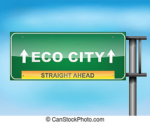 "Highway sign with ""Eco City"" text"