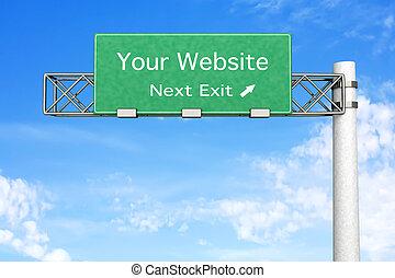 Highway Sign - Your Website - 3D rendered Illustration....