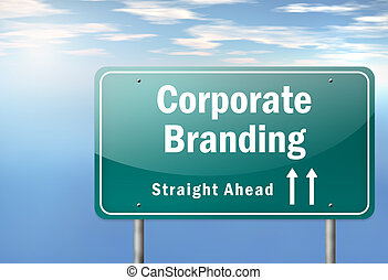 Highway Signpost Corporate Branding - Highway Signpost with...