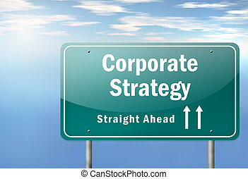 Highway Signpost Corporate Strategy - Highway Signpost with...