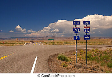 Highway Signs - Highway directional signage on a remote ...