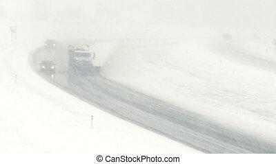 Highway snowplow 02 - Snowplow on highway during blizzard