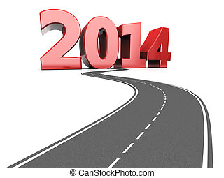 highway to 2014 year - abstract 3d illustration of asphalt...