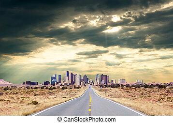 Highway to metropolis - Road to the city through desert...