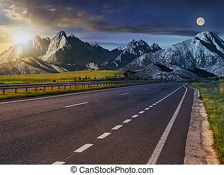 highway to the tatra mountain ridge - Day and nigght change...