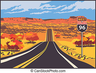 Highway to the west - Stylized illustration of a picturesque...