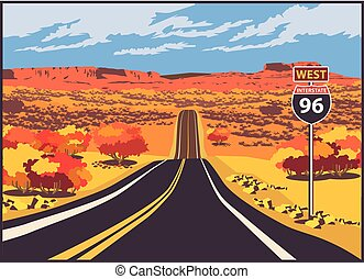 Highway to the west - Stylized vector illustration of a ...