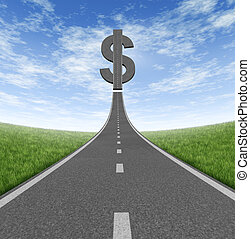 Highway to wealth and a business symbol of saving money as a single highway leading to a dollar sign icon on a summer sky as a concept of financial success.