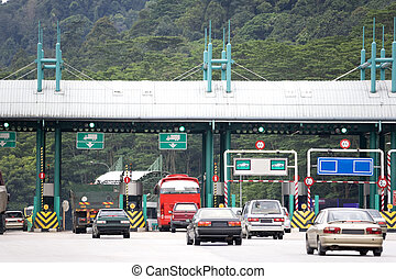 Highway toll collection booths in Malaysia.