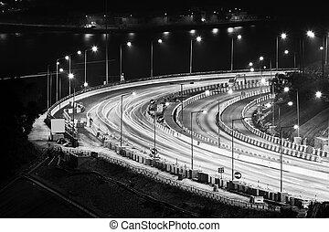 Highway traffic at night in Hong Kong