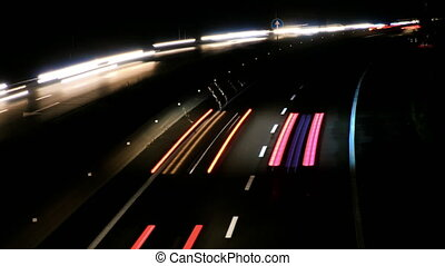 Highway Traffic Cars at Night Time Lapse