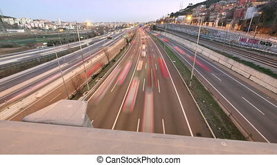 Highway Traffic Cars Driving Time Lapse at Multiple Lane...