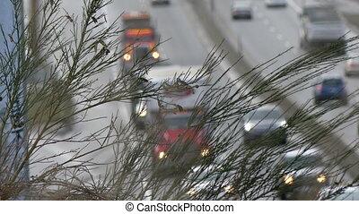 Highway traffic day background - Highway traffic day...