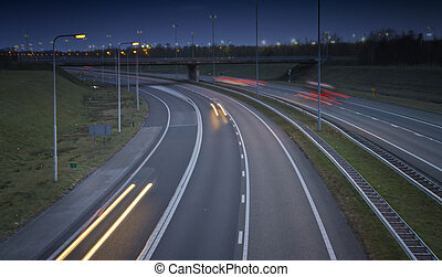 highway traffic in the evening