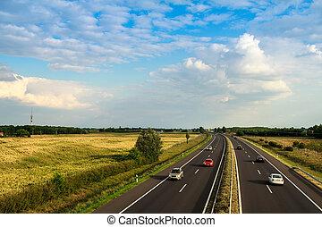 highway traffic on summer day