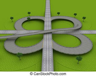 Highway Traffic Roundabout on the Green Grass