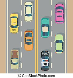 Highway traffic with top view cars and trucks street vector