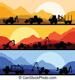 Highway truck wild nature landscape background illustration
