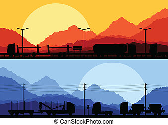 Highway truck wild nature landscape background vector