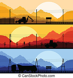Highway truck wild nature landscape background vector - ...