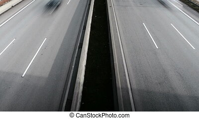 Highway, view from above. Time-lapse