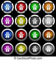 Highway white icons in round glossy buttons on black background
