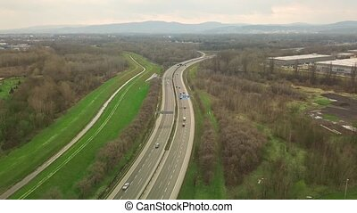 Highway with low traffic - Aerial footage of a highway