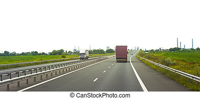 highway with truck transportation and road isolated on white background