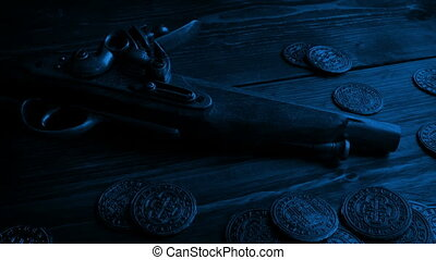 Highwayman Gun With Gold Coins In The Dark - Old fashioned...