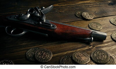 Highwayman Gun With Gold Coins On Table - Old fashioned...