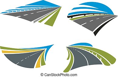 Highways and roads icons with landscape