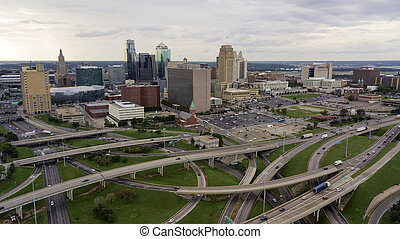 Highways Cover The Landscape Downtown City Center Kansas City Missouri