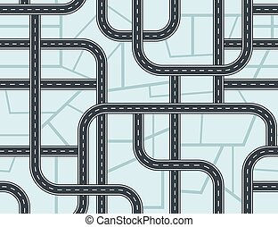 Highways seamless pattern. A lot of roads with crossroads and junctions on blue map background.