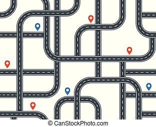 Highways seamless pattern. A lot of roads with crossroads and junctions on white background.