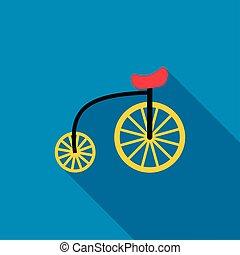 Highwheel bike icon, flat style
