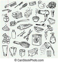higiénia, és, takarítás, termékek