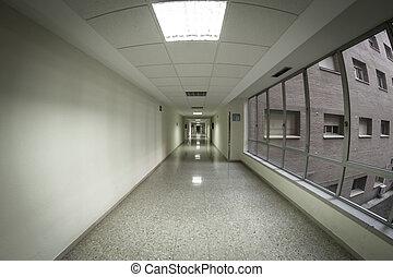 higiênico, espaço, hospitalar, limpo, branca, corredor
