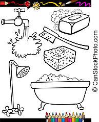 higiene, coloração, caricatura, objetos, página