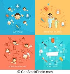 higiene, conceito, desenho
