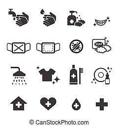 higiene, conjunto, iconos