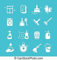 higiene, ensemble, icônes, vecteur, nettoyage, blanc