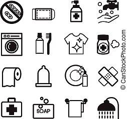 higiene, jogo, ícones