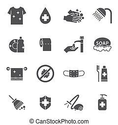 higiene, jogo, limpeza, ícones
