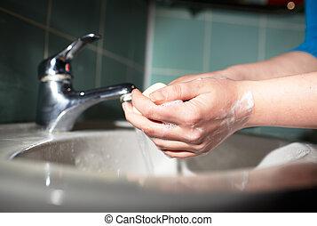 higiene, lavando, limpeza, hands.