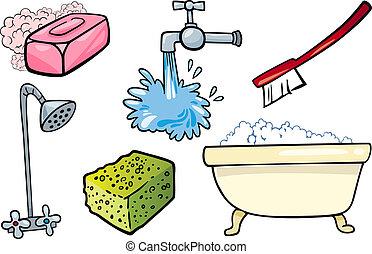 higiene, objetos, conjunto, caricatura, ilustración