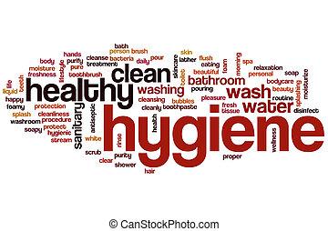 higiene, palavra, nuvem