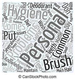higiene pessoal, conceito, palavra, nuvem