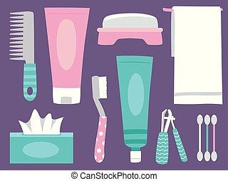 higiene pessoal, elementos, ilustração