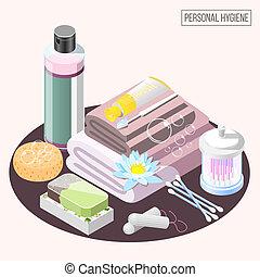higiene pessoal, isometric, composição