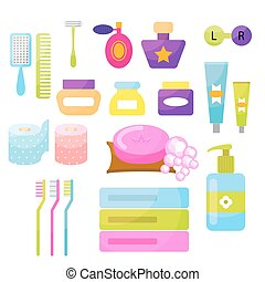 higiene pessoal, vetorial, items.